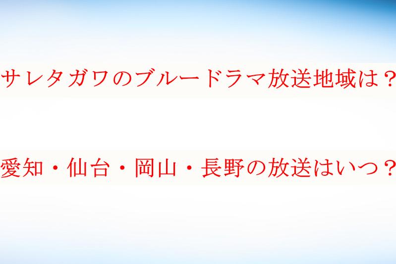 サレタガワのブルードラマ愛知・仙台・岡山・長野の放送はいつ?